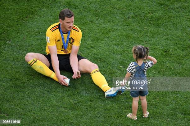 Belgium's defender Jan Vertonghen talks to his daughter Leyla after their Russia 2018 World Cup playoff for third place football match between...