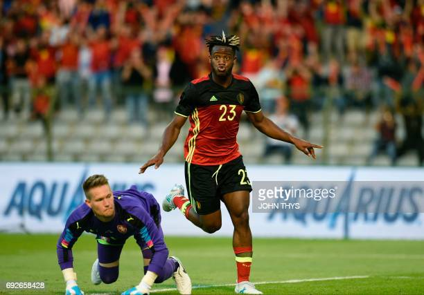 Belgium's defender Michy Batshuayi celebrates after scoring during the friendly football match between Belgium and Czech Republic at the King...