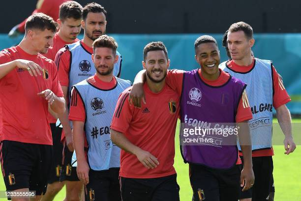 Belgium's defender Thomas Meunier, Belgium's forward Dries Mertens, Belgium's midfielder Nacer Chadli, Belgium's forward Eden Hazard, Belgium's...