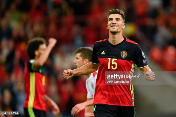 Belgium's defender Thomas Meunier celebrates after scoring during the WC 2018 football qualification football match between Belgium and Gibraltar, at...