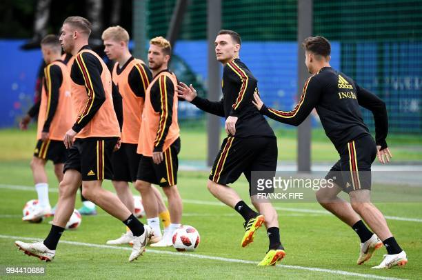 Belgium's defender Thomas Vermaelen attends a training session at the Guchkovo Stadium in Dedovsk outside Moscow on July 9 on the eve of their Russia...