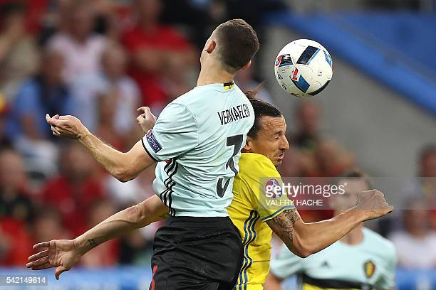 TOPSHOT Belgium's defender Thomas Vermaelen vies for the ball against Sweden's forward Zlatan Ibrahimovic during the Euro 2016 group E football match...