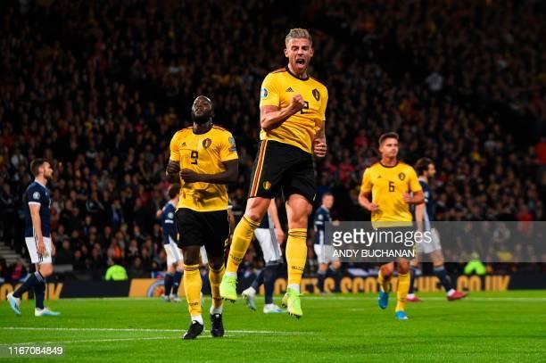 Belgium's defender Toby Alderweireld celebrates scoring their third goal during the Euro 2020 football qualification match between Scotland and...