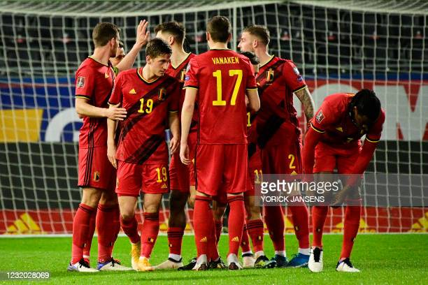 Belgium's Dennis Praet celebrates after scoring the 5-0 goal during a qualification game for the World Cup 2022 in the group E between the Belgian...