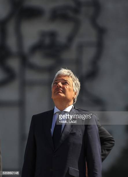 Belgium's Deputy PM and Minister of Foreign and European Affairs Didier Reynders is depicted during a wreath laying ceremony in front of the monument...
