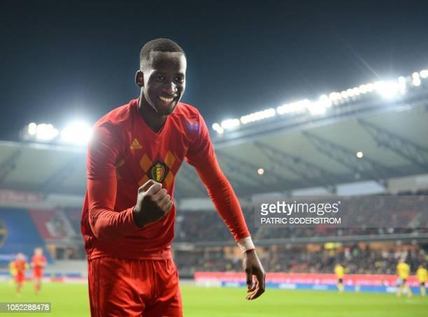 Belgium´s Dodi Lukebakio celebrates scoring the 0-3 during the UEFA U21 qualification Group 6 football match between Sweden and Belgium in Kalmar,...