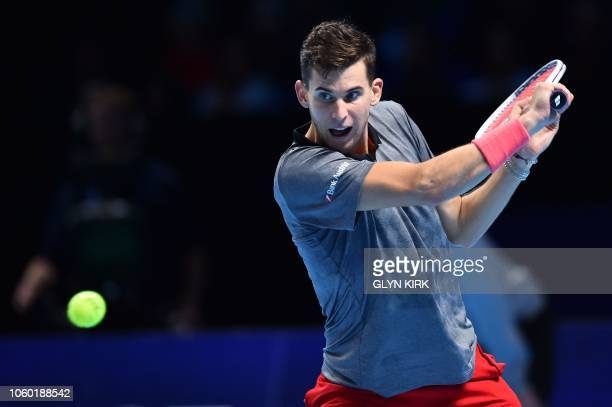Belgium's Dominic Thiem returns to South Africa's Kevin Anderson during their singles round robin match on day one of the ATP World Tour Finals...