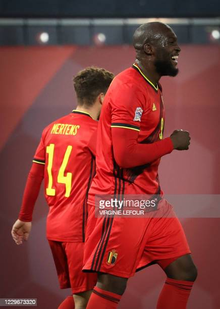 Belgium's Dries Mertens and Belgium's Romelu Lukaku celebrate after scoring during a soccer game between the Belgian national team Red Devils and...