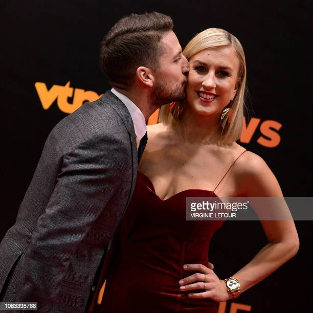 Belgium's Dries Mertens and Mertens' wife Katrin Kerkhofs pictured on the red carpet at the arrival for the 65th edition of the 'Golden Shoe' award...