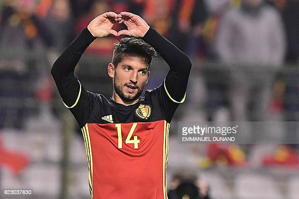 Belgium's Dries Mertens celebrates after scoring a goal during the World Cup 2018 football qualification match between Belgium and Estonia on...