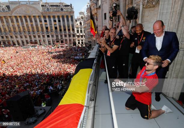 Belgium's Dries Mertens celebrates at the Grand Place/Grote Markt in Brussels city center as Belgian national football team Red Devils arrive to...