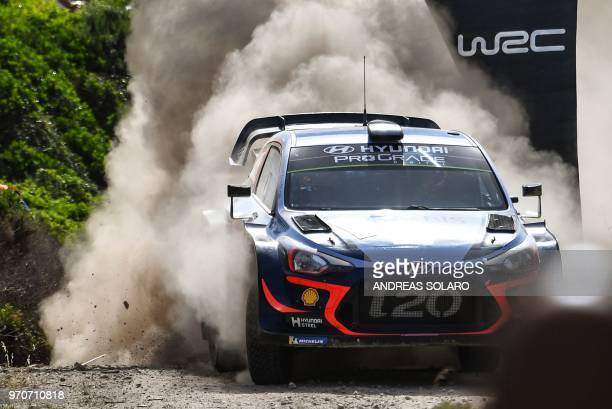 Belgium's driver Thierry Neuville and compatriot co-driver Nicolas Gilsoul steer their Hyundai i20 Coupe WRC during the 2018 FIA World Rally...