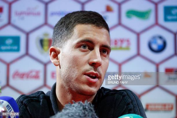 Belgium's Eden Hazard gives a press conference in Tubize on June 4 on the eve of a friendly football match between Belgium and Czech Republic / AFP...
