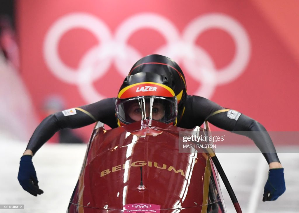 Belgium's Elfje Willemsen (front) and Belgium's Sara Aerts compete in the women's bobsleigh heat 1 run during the Pyeongchang 2018 Winter Olympic Games, at the Olympic Sliding Centre on February 20, 2018 in Pyeongchang. / AFP PHOTO / Mark Ralston
