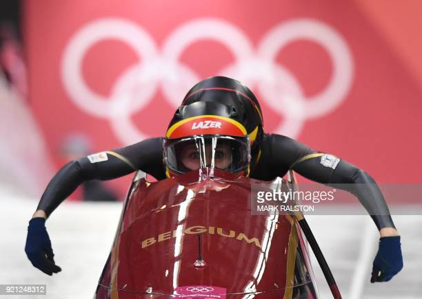Belgium's Elfje Willemsen and Belgium's Sara Aerts compete in the women's bobsleigh heat 1 run during the Pyeongchang 2018 Winter Olympic Games at...