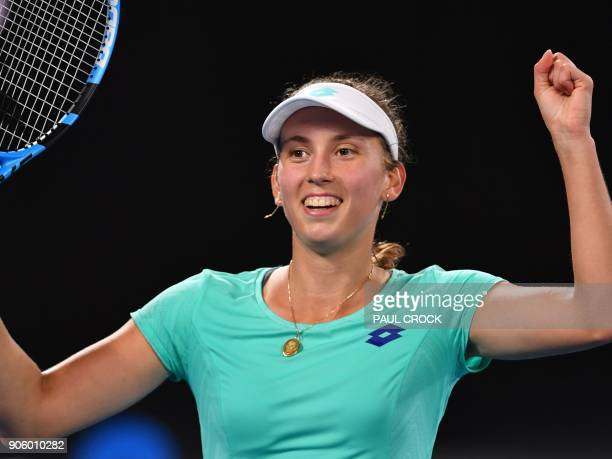 Belgium's Elise Mertens celebrates after victory in her women's singles second round match against Australia's Daria Gavrilova on day three of the...