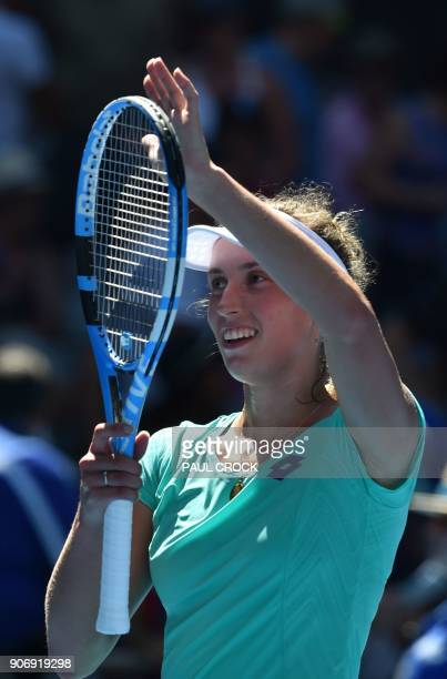 Belgium's Elise Mertens celebrates her victory against France's Alize Cornet during their women's singles third round match on day five of the...