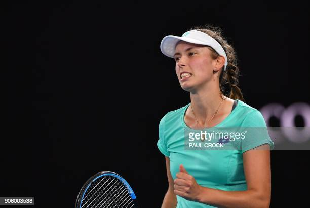 Belgium's Elise Mertens reacts after a point during her women's singles second round match against Australia's Daria Gavrilova on day three of the...