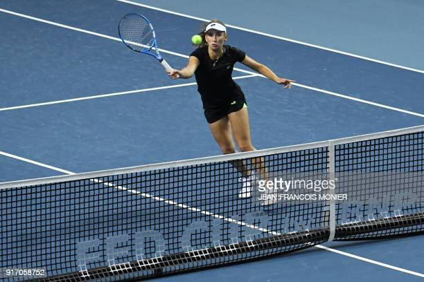 Belgium's Elise Mertens returns the ball during the double tennis match against France's Kristina Mladenovic and France's Amandine Hesse during the...