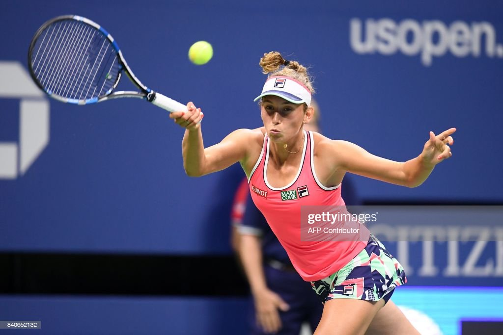 Belgium's Elise Mertens returns the ball to Madison Keys of the US during their 2017 US Open Women's Singles qualification round match at the USTA Billie Jean King National Tennis Center in New York on August 29, 2017. PHOTO / Jewel SAMAD