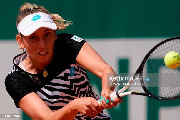 Belgium's Elise Mertens returns the ball to Slovenia's Tamara Zidansek during their women's singles first round match on day two of The Roland Garros...