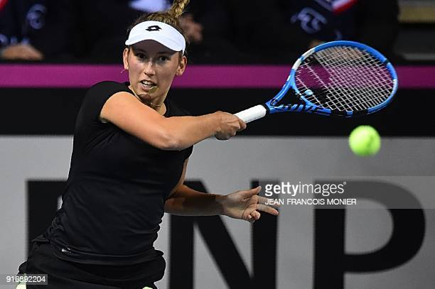 Belgium's Elise Mertens returns to France's Kristina Mladenovic during the Tennis Fed Cup world group first round match between France and Belgium in...
