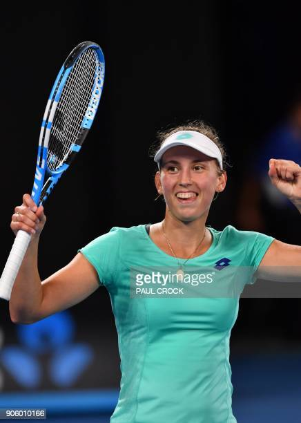 Belgium's Elise Mertens scelebrates after victory in her women's singles second round match against Australia's Daria Gavrilova on day three of the...