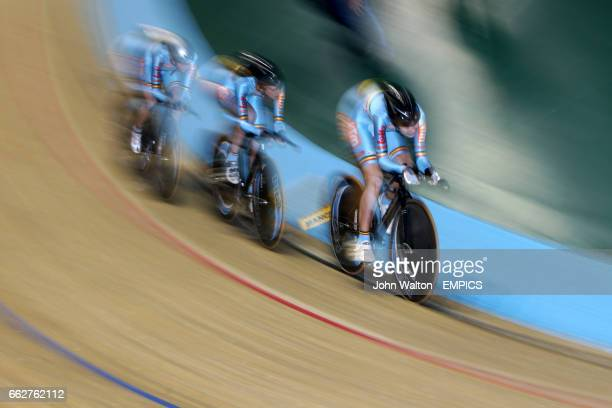 Belgium's Evelyn Arys, Jessie Daams and Jolien D'Hoore in action during the Women's Team Pursuit Qualifying