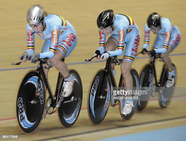 Belgium's Evelyn Arys, Jolien D'Hoore and Jessie Daams compete during the women's team pursuit qualifying round in the UCI Track Cycling World...