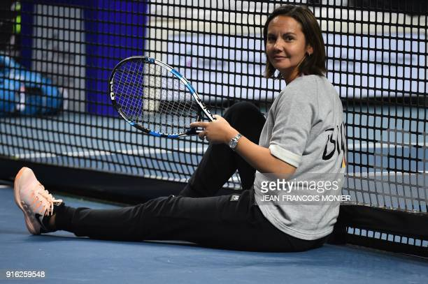 Belgium's Fed Cup team captain Dominique Monami is pictured during a training session ahead the Fed Cup World Group first round tennis match between...