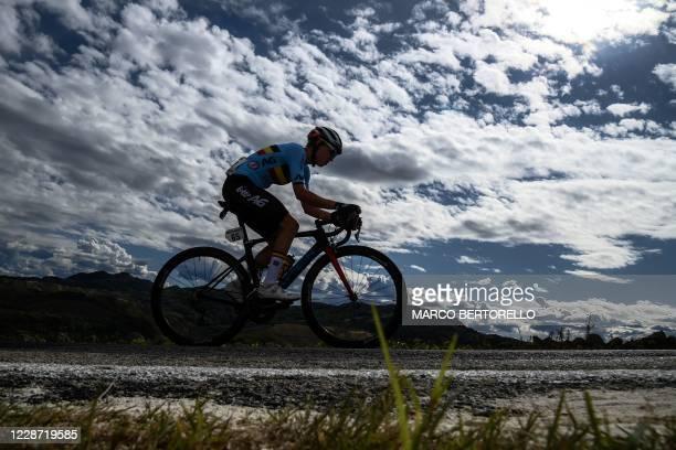 Belgium's Fien Van Eynde competes in the Women's Elite Road Race, a 143-kilometer route around Imola, Emilia-Romagna, Italy, on September 26, 2020 as...