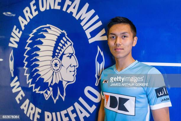 Belgium's first division football club KAA Gent's Japanese new forward Yuya Kubo poses for photographers on January 25 2017 in Ghent / AFP PHOTO /...