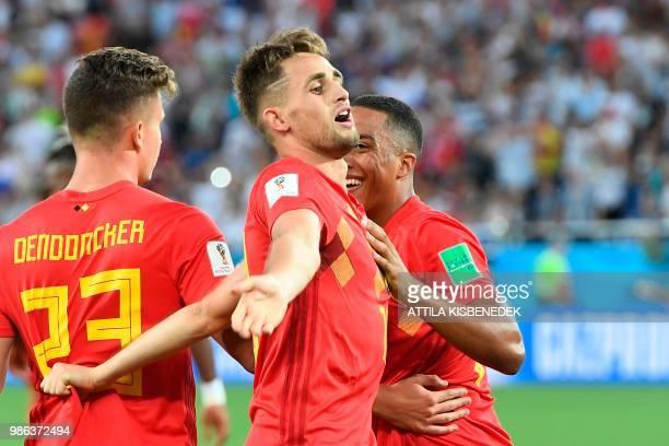 TOPSHOT Belgium's forward Adnan Januzaj celebrates scoring the opening goal with his teammates during the Russia 2018 World Cup Group G football...