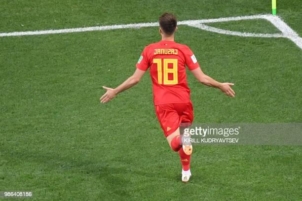 TOPSHOT Belgium's forward Adnan Januzaj celebrates scoring the opening goal during the Russia 2018 World Cup Group G football match between England...