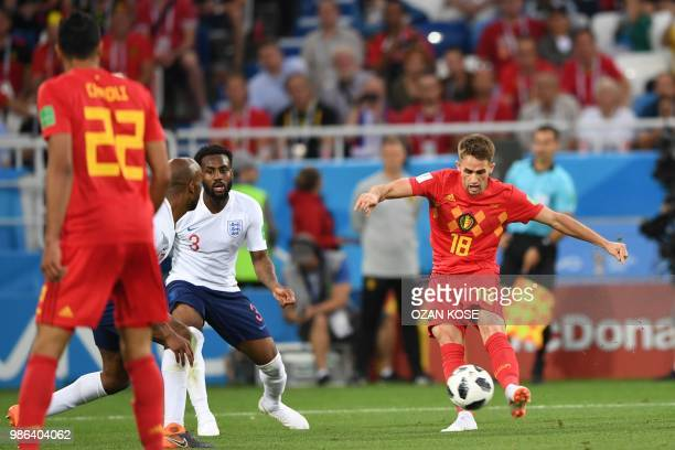 Belgium's forward Adnan Januzaj prepares the ball to shoot and score the opener during the Russia 2018 World Cup Group G football match between...