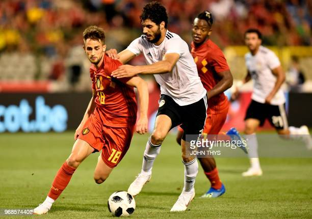 Belgium's forward Adnan Januzaj vies for the ball with Egypt's defender Ali Gabr during the international friendly football match between Belgium and...