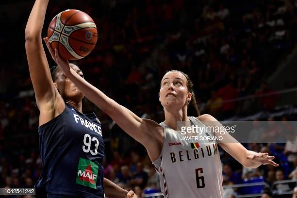 Belgium's forward Antonia Delaere vies with France's forward Diandra Tchatchouang during the FIBA 2018 Women's Basketball World Cup quarter final...