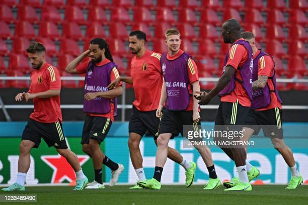 Belgium's forward Dries Mertens, Belgium's defender Jason Denayer, Belgium's midfielder Nacer Chadli, Belgium's midfielder Kevin De Bruyne, Belgium's...