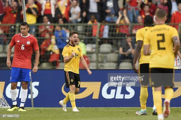 Belgium's forward Dries Mertens celebrates after scoring a goal during the international friendly football match between Belgium and Costa Rica at...