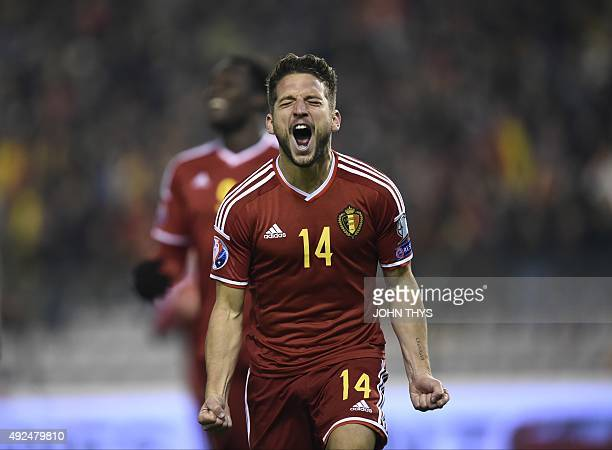 Belgium's forward Dries Mertens celebrates after scoring during the Euro 2016 qualifying football match between Belgium and Israel at the King...