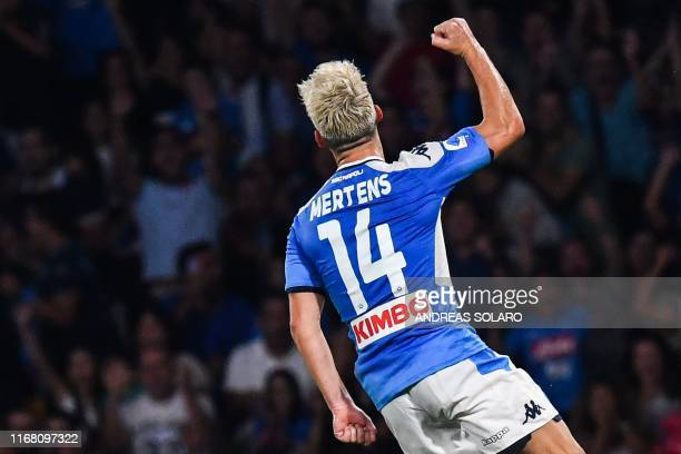 Belgium's forward Dries Mertens celebrates after scoring his second goal during the Italian Serie A football match Napoli vs Sampdoria on September...