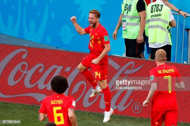TOPSHOT Belgium's forward Dries Mertens celebrates after scoring the opening goal during the Russia 2018 World Cup Group G football match between...