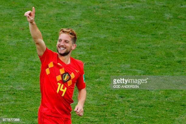Belgium's forward Dries Mertens celebrates his goal during the Russia 2018 World Cup Group G football match between Belgium and Panama at the Fisht...