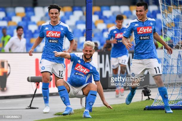 Belgium's forward Dries Mertens celebrates with Napoli's Macedonian defender Eljif Elmas and Napoli's Mexican forward Hirving Lozano after opening...