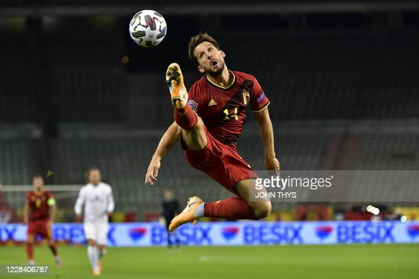 Belgium's forward Dries Mertens controls the ball during the UEFA Nations League football match between Belgium and Iceland at the King Baudouin...