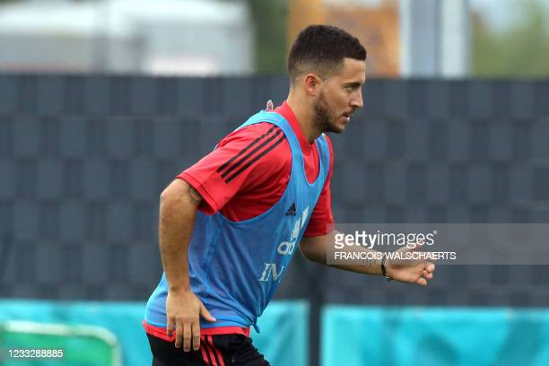 Belgium's forward Eden Hazard attends a training session in Tubize on June 5 as the team prepares the upcoming 2020-2021 Euro football tournament. -...
