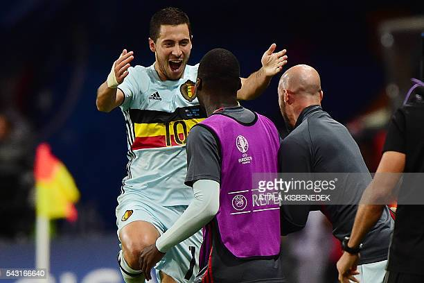 Belgium's forward Eden Hazard celebrates after scoring his team's second goal during the Euro 2016 round of 16 football match between Hungary and...