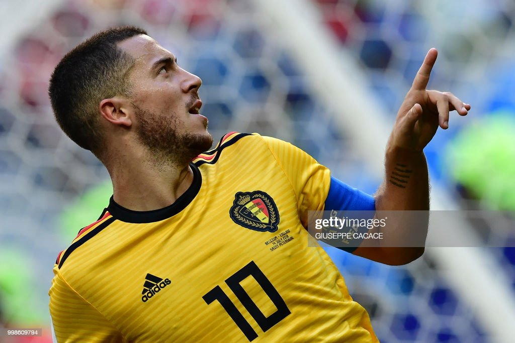 Belgium's forward Eden Hazard celebrates after scoring their second goal during their Russia 2018 World Cup play-off for third place football match between Belgium and England at the Saint Petersburg Stadium in Saint Petersburg on July 14, 2018. (Photo by Giuseppe CACACE / AFP) / RESTRICTED
