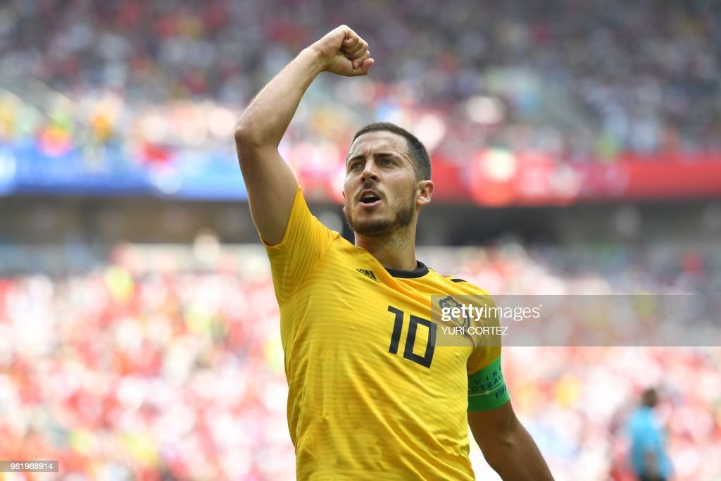 TOPSHOT - Belgium's forward Eden Hazard celebrates his second goal during the Russia 2018 World Cup Group G football match between Belgium and Tunisia at the Spartak Stadium in Moscow on June 23, 2018. (Photo by Yuri CORTEZ / AFP) / RESTRICTED
