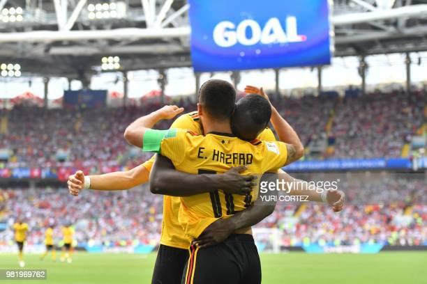 TOPSHOT Belgium's forward Eden Hazard celebrates his second goal with Belgium's forward Romelu Lukaku during the Russia 2018 World Cup Group G...
